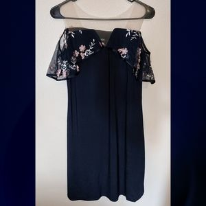 NEW Blue dress with floral off the shoulder detail